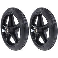 Baoblaze 2x Ruedas de Riel Delantero de Repuesto Negro 7 Pulgadas Material ABS
