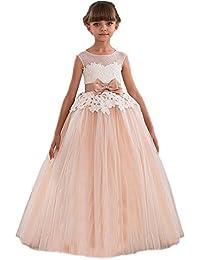 8bcc968cf64f HotGirls pizzo appliques vestito ragazza di fiore per il matrimonio vestito  della prima comunione