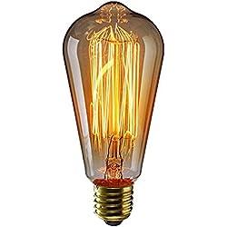 KINGSO - E27, 60 W ST64, de tornillo, incandescente, Diseño Retro Edison, bombilla de filamento diseño tradicional, 220 V