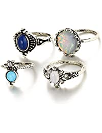 Young & Forever Vintage Style Silver Plated Opal Turquoise Stone Midi Finger Ring For Women & Girls - Set Of 4...