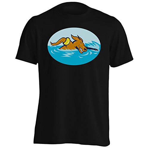 Cane Nuoto Figura Arte Novità Epoca Uomo T-shirt n58m Black