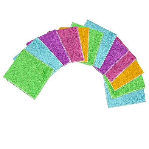 12Home Küche Bambus Faser Reinigungstücher Abwaschtücher Hadern Waschlappen, Handtücher 15,2x 17,8cm (Waschlappen Natürliche Faser)