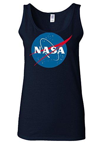 Nasa National Space Administration Logo White Women Vest Tank Top Bleu Foncé