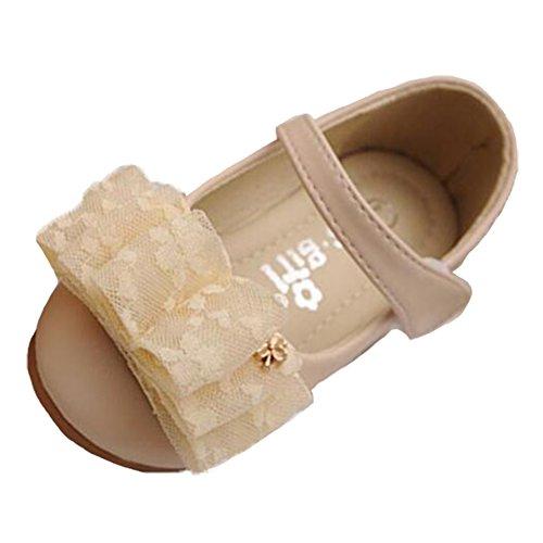 Ohmais Enfants Filles Chaussure cérémonie Ballerines à bride Fête Demoiselle d'honneur Mariage Escarpin plat Babies abricot
