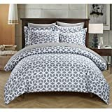 #4: Linenwalas 100% Organic Cotton Geometric Design King Size Duvet Cover with 2 Pillow Covers - Grey & White- 90