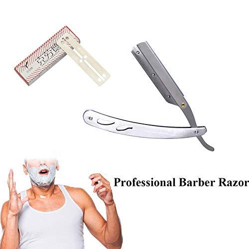 Professionelle Barber Edge Rasierer mit 10 Stück Klingen-Edelstahl Folding Salon Kehle Bart Rasieren gerade für Männer-Rasur Bartschneider Edge Folding Blade
