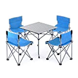 ZXT Outdoor Klapptisch und Stuhl Kombination Paket dreiteilige fünf-teilige Portable Wilde Picknick Grill Camping-Set (Farbe : Blau, größe : Five-Piece)