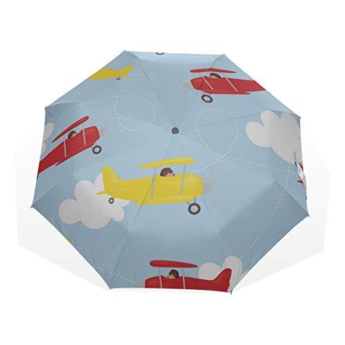 Reiseregenschirm Verschiedene Flugzeuge im Himmel Anti Uv Compact 3-Fach Kunst Leichte Faltschirme (Außendruck) Winddicht Regen Sonnenschutzschirme Für Frauen Mädchen Kinder