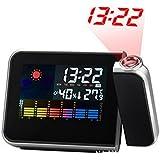 Réveil amélioré Réveil réveil Horloges de réveil Horloges de voyage-Projection écran couleur horloge