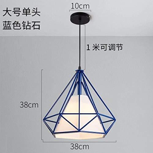 Einzelgang Diamant-Kronleuchter groß - Durchmesser 38 cm blau Abschnitt mit zweifarbigen 7-Watt-LED-Lampe - Indische Mop