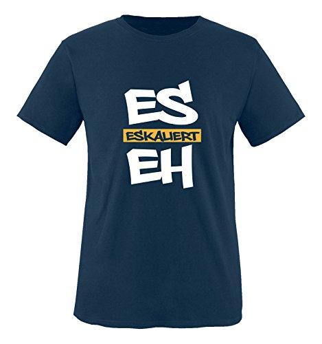Casual Outfit Komplett (Comedy Shirts - Es eskaliert eh - GRAFFITI - Herren T-Shirt - Navy / Weiss-Gelb Gr. M)
