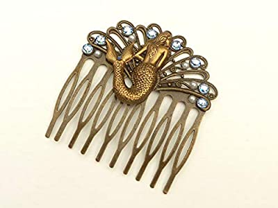 Peigne en bronze avec sirène, peigne fantaisie