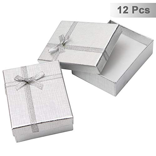 Kurtzy 12 Teiliges Schmuck Geschenkbox Set - Schmuck Etui mit Samteinlage fur Kette, Ohrring, Ring - 8,5 x 6,5 x 2,5 cm Prasentations-Schachteln für Hochzeit, Verlobung - Schleife und Band Design