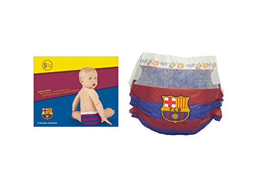 FC BARCELONA PAÑALES DIAPERS NAPPIES, Talla L (9-14kg), 12 unidades,