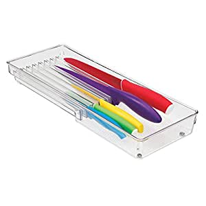 InterDesign Linus Cutlery Tray for Knives, 8-Compartment Knife Organiser  and Kitchen Accessories Tray, Made of Durable Plastic, Clear