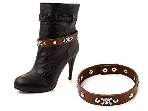 """La Loria - catena di stivali per le donne """"Hard Rock"""" catena di scarpe, gioielli accessorio con vera pelle per abbellire le scarpe colore marrone - 1 Coppia"""