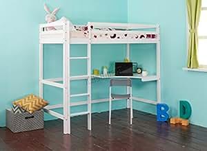 FoxHunter Lit mezzanine avec bureau pour enfant Cadre en bois Simple 90cm Blanc Sans matelas