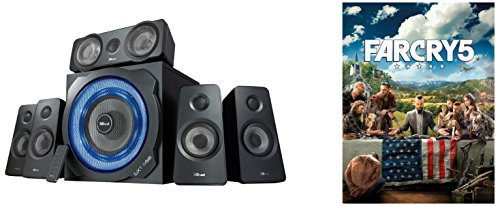 Trust GXT 658 Speaker Surround 5.1, Subwoofer Illuminato, 180 Watt, Nero e Far Cry 5 Standard Edition PC Code Uplay