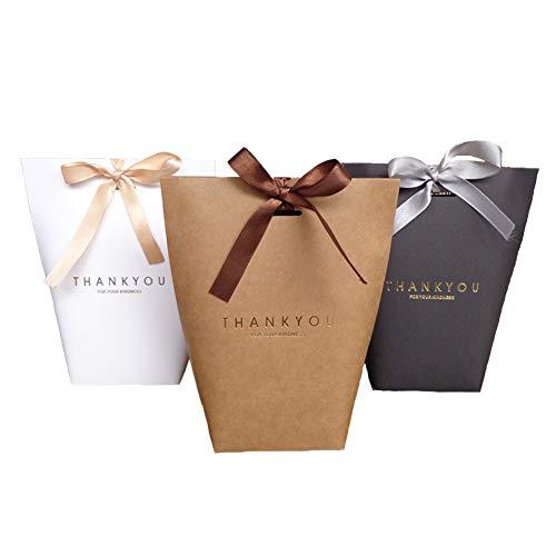 """ENSTAB 12 Stück Geschenktüten """"Thank You"""" Beutel Für Danksagung Weihnachten Hochzeit Pack Papier GeschenkBeutel Schwarz Braun Weiß 13.5*16.5CM"""