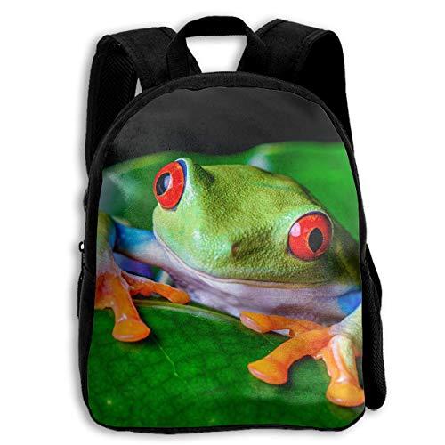 ADGBag Red-Eyed Tree Frog Green Leaf Children's Backpack Kids School Bag with Adjustable Shoulders Ergonomic Back Pad Perfect for School Security Sporting Events Kinderrucksack Rucksack -