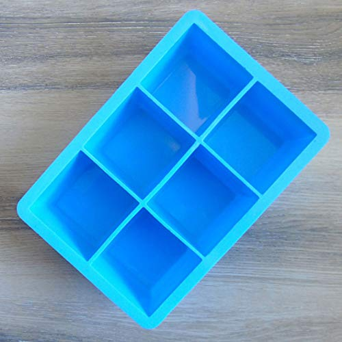yuehuxin Charmanter Cubed Ice Maker Large Cube Square Tray Molds Whiskey Ball Cocktails Silicon Big(None Light Blue)