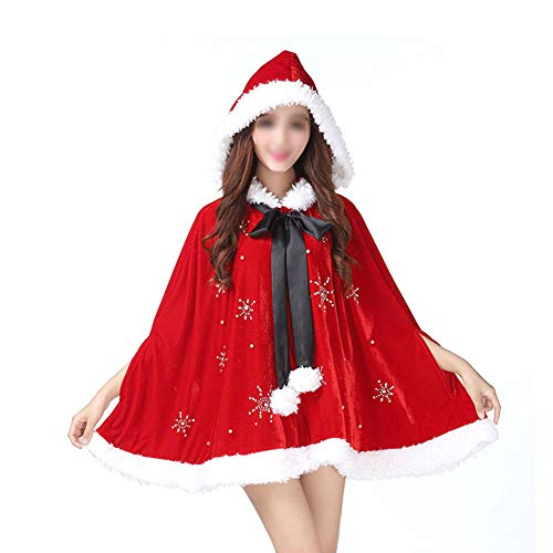 Frauen Weihnachten Mit Kapuze Mantel Weihnachtsmann Red Cape Cosplay Party Kostüm Weihnachten Kurze Gold Samt - Reversible Samt Kostüm