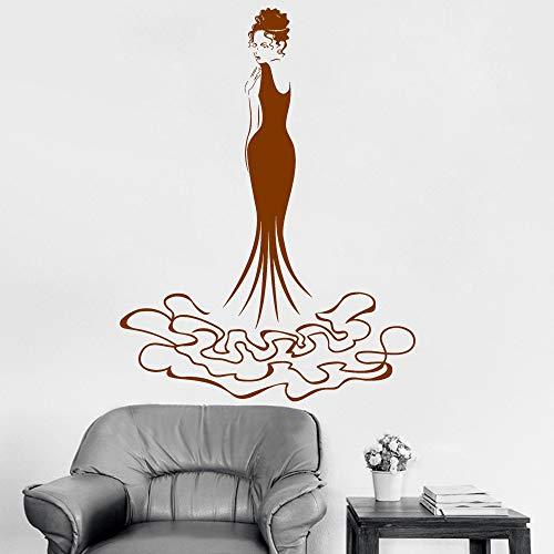 ZMY Wandtattoos Wandaufkleber Wandtattoo Hübsches Mädchen Harmonische Mode Abendkleid Beauty Shop Decor Home Wandaufkleber Wandbild Poster 55 * 80 cm