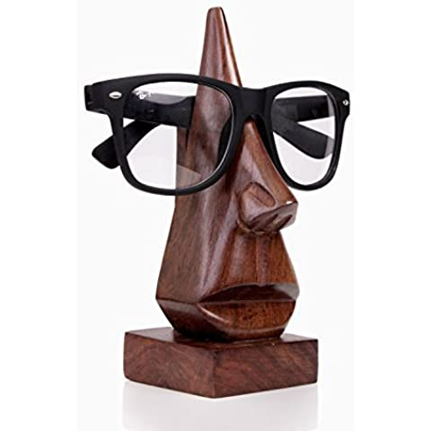 Quirky Handmade naso a forma di legno Lettura del monocolo Sunglass il supporto della struttura Espositore regalo unico - Artigianale Di Vetro Ornamento