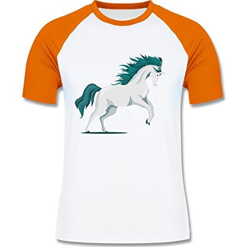 Pferde - steigendes Einhorn - zweifarbiges Baseballshirt für Männer Weiß/Orange