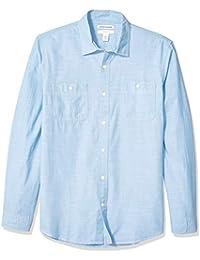 Amazon Essentials - Camisa de cambray con manga larga y corte entallado para hombre
