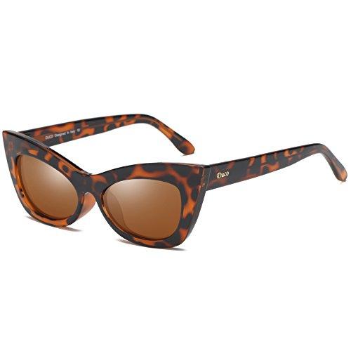 DUCO Katzenauge Rahmen Mode UV-Schutz Damen Sonnebrille Polarisierte Retro Klassisch Cateye W005 (Tortoise)