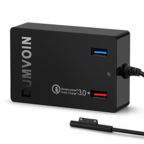 Microsoft Surface Pro 3 / Pro 4 Ladegerät Adapter Netzteil Charger Power for Microsoft Surface Pro 3 Pro 4 Surface Book;Dual USB Ports Quick Charge 3.0 for Samsung iPhone