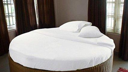 1000TC weiß Farbe Rund Bett 4Stück Bettlaken Sets, deep Pocket 100% Baumwolle 213,4cm/243,8cm Durchmesser Massiv, baumwolle, weiß, 96 Inch Diameter (1000 Tc Blatt)