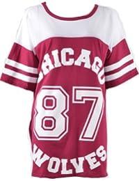Fashion Mark - Damen Übergroße 'Chicago 87 Wolves' Druck Kurzarm Netz Sackartige Oben Fischnetz Varsity Baseball Sport T-Shirt - Größe 36-42 (36-38, Wein)