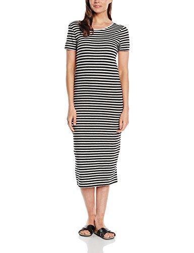 ONLY Damen Kleid 15112079, Maxi, Gestreift,Gr. L , Mehrfarbig (Stripes:BLACK AND LGM)
