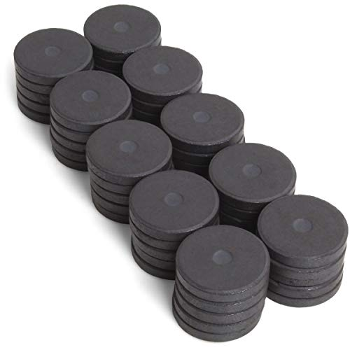 iGadgitz Home U6913-50 x Rundmagnet Ferrit Magnete Scheibenmagnet 25 mm rund Keramik Magnet für Kühlschrank, Basteln, Küche, Büro, DIY und vieles mehr - Schwarz