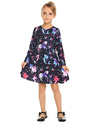 rm Einhorn Meerjungfrau Blumen Herbst Karikatur Prinzessin T-Shirt Kleider Freizeitkleidung Gr. 110-150 ()