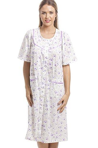 Chemise de nuit classique à manches courtes et à boutons - motif floral - blanc et Violet Violet