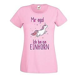 Einhorn Damen Mädchen T-Shirt Mir egal ich Bin EIN Unicorn Spruch Fun Ladyfit Light Pink M