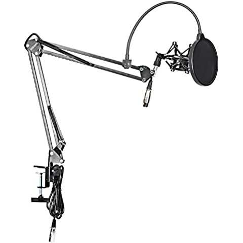 Neewer® Pack de NW-35 Soporte de micrófono de brazo suspensión de tijera con montaje de cable de XLR macho a hembra incorporado, soporte amortiguado de metal, montaje de mesa abrazadera y filtro parabrisas Pop máscara