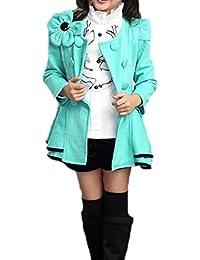 TOOGOO(R)Ninos Chicas Medio-larga Doble botonadura Vestido exterior del bebe Capa de foso de chicas Ropa de Ninos Azul Tamano 150cm