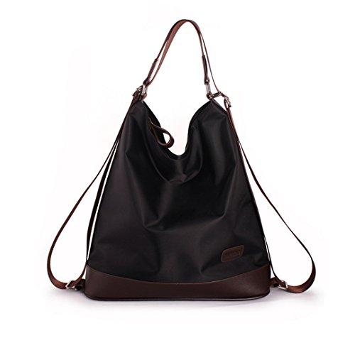 La Haute Fashion nylon Tote borsetta elegante borsetta da donna, borsa a tracolla a tracolla multi funzione zaino, Black (Nero) - LHTE-63 Black