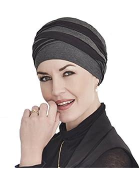 Turbante Shanti con bambú negro y gris para mujeres con alopecia