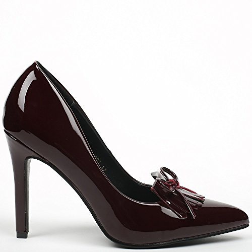 Ideal Shoes–Escarpins vernice con punta appuntita e frange Jema Bordeaux