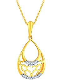 Silvernshine Diamond Accent 14k Yellow Gold Fn .925 Filigree Pear Shape Drop Pendant Necklace