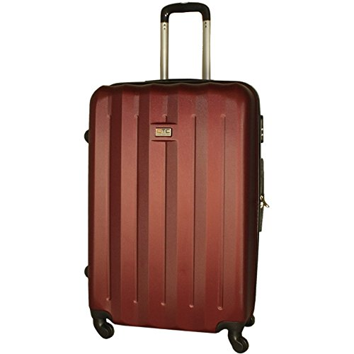 QTC Hartschalen Reisekoffer Trolley L Hartschale Reise Koffer Hard sided Case Luggage Travelcase Travel (L (65 cm/65 Liter), Braun-Rot)
