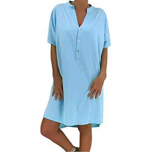 Schule Kurzarm Tee (Saihui_Women Dress Damen Sommer-T-Shirt Kleid Retro Solid Lose Bohemian Ethnic Sundress Casual V-Ausschnitt Knöpfe Kaftan Baggy Kurzarm Tunika Tops Minikleid)