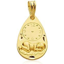 Medalla niño y reloj gota en oro amarillo de 9 ktes. Grabado gratuito, personalizado.