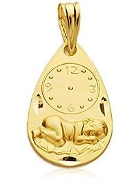 Medalla niño y reloj gota en oro amarillo de 9 ktes. Grabado gratuito, personalizado