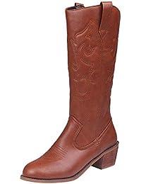 HhGold Calzado de tacón Cuadrado para Mujer con patrón de fantasía Botas  Martin de Cuero con 7c41282b10f42